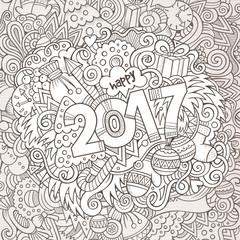 Cartoon cute doodles hand drawn New Year illustration