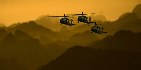 Helicopter Attack Wall mural