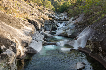 Natural pools of Los Pilones in the Garganta de los infiernos gorge, Jerte valley, Caceres (Spain)