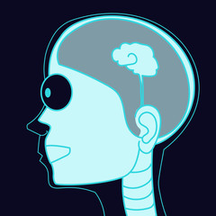 X-ray picture human head with small brain vector