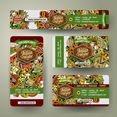 Corporate Identity templates set with doodles Italian food