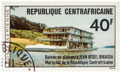 "River Vessel ""Jean Bedel Bokassa"" on postage stamp"