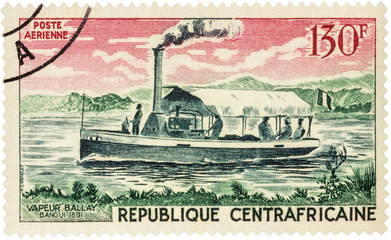 Old steamer Ballay (1891) on postage stamp