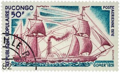 Old steamer Gomer (1831) on postage stamp