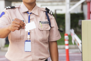 Security guard with opening barrier gate