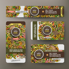 Corporate Identity set with doodles Japan food theme