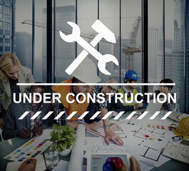 Under Construction Warning Sign Icon Concept