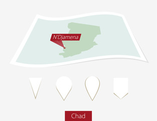 Curved paper map of Chad with capital N'Djamena on Gray Background. Four different Map pin set. Vector Illustration.