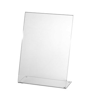 Transparent acrylic table stand display for menu isolated, white background