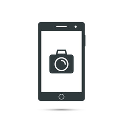 Smartphone icon with camera sign on screen. Vector design template.