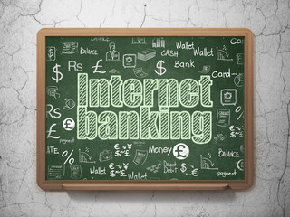 Money concept: Internet Banking on School board background