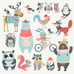 Wall Mural - Christmas set with cute animals, hand drawn style.