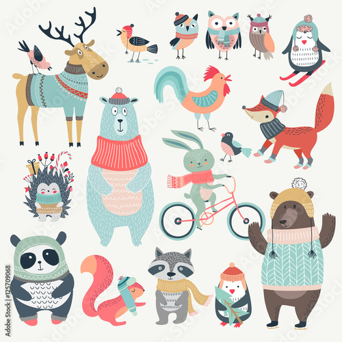 Wall mural Christmas set with cute animals, hand drawn style.