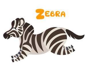 Vector letter Z zebra for children alphabet cute animal illustration