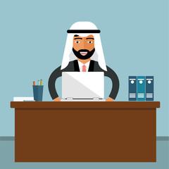 Arabic Businessman Sitting Office Desk Working Laptop Computer Flat Vector Illustration