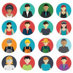 Set of avatar flat design icons on white background