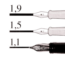 Calligraphy instruction, isolated on white.