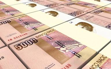 Angolan kwanza bills stacks background. 3D illustration.