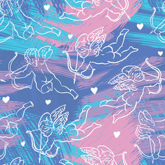 pattern with cupidons