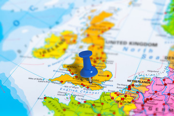 London in United Kingdom pinned on colorful political map of Europe. Geopolitical school atlas. Tilt shift effect.