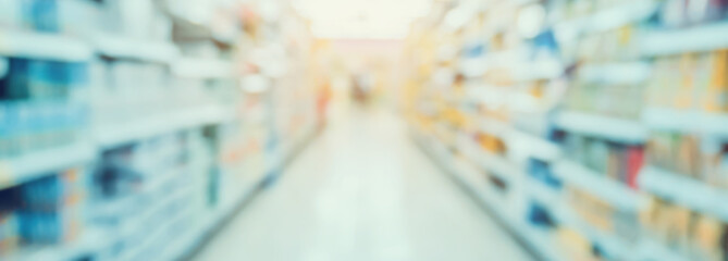 Empty Supermarket Aisle and Shelves in blur background