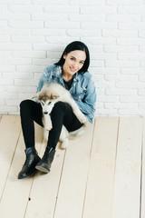 pretty sexy girl with husky dog