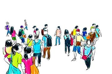 crowd walking illustration