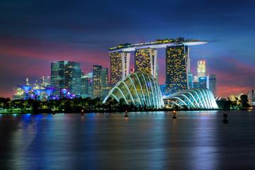 Singapore skyscraper building at Marina Bay in night, Singapore.