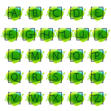 Alphabet logos in square frame at green watercolor splash backgr