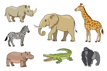African animals in cartoon style