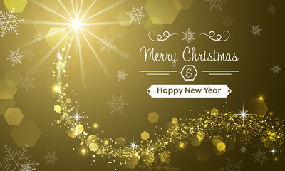 Merry Christmas and Happy New Year greeting card with snowflakes, snowdrift and glitter.