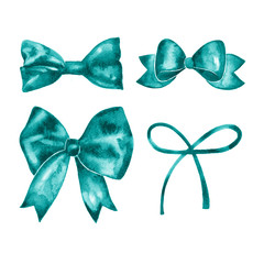 Set of beautiful hand drawn watercolor blue ribbons.