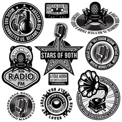 set of retro badges templates gramofon, microphones, speaker, headphones, audiocassette