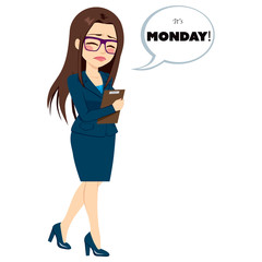 Young businesswoman walking sad with folder and speech bubble with text it's Monday