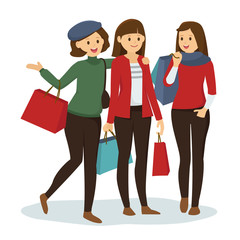Group of girl friends go shopping for Christmas