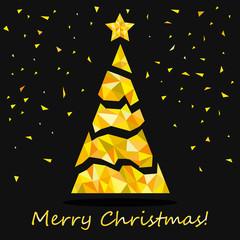 Треугольное рождественское дерево со звездой. Золотая векторная иллюстрация.