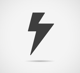 Black lightning icon isolated on white background. Vector flash symbol. EPS 10