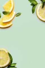 Citrus on retro mint background