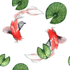Watercolor koi pattern with water lily