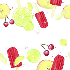 Watercolor seamless fruit pattern