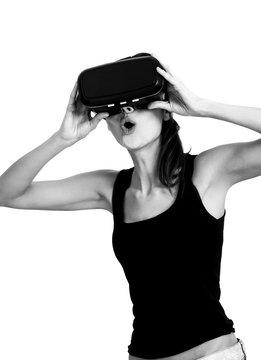 Beautiful and surprised woman portrait using oculus rift monochrome