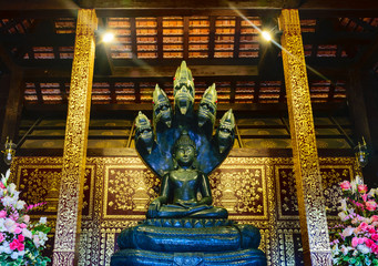 CHIANGMAI, THAILAND - SEPTEMBER 14, 2015 : Wat Jedi Luang Temple on September 14, 2015. Wat Jedi Luang is the most famous Buddhist temple in the historic centre of Chiang Mai, Thailand.