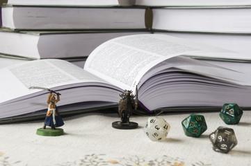 Fototapeta RPG, figurki książki i kości k20 obraz