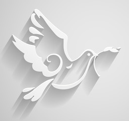 White Dove. Paper stylized Peace Dove with olive branch. Vector Illustration. EPS 10