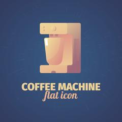 Cool flat coffee machine illustration