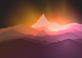 Mountainous Terrain - Vector Illustration