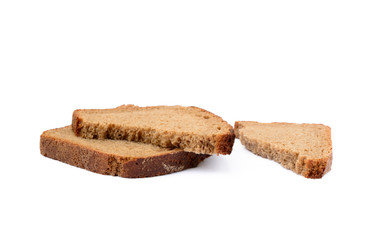 Slices of rye bread isolated with white background