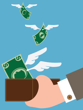 Money is sprouting wings and flying out of man's wallet