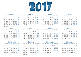 Calendrier 2017 simple - facilement éditable