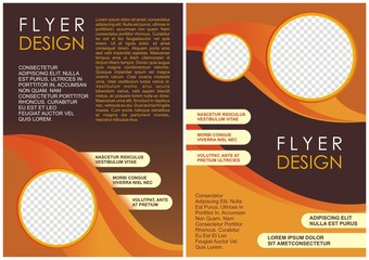 Corporate brochure flyer design layout template in A4 size with brown and yellow color
